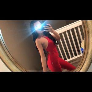 Red criss cross back Jumpsuit